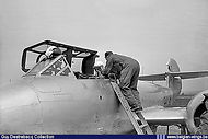 Belgian King Boudewijn I in Gloster Meteor T.7 ED-34 at Melsbroek on 13 June 1957 for a flight to Florennes airbase.