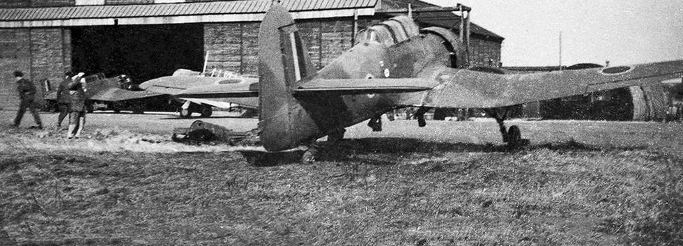 Miles Martinet TT.1 R-8 at the maintenance hangar at the northern side of Koksijde airbase.