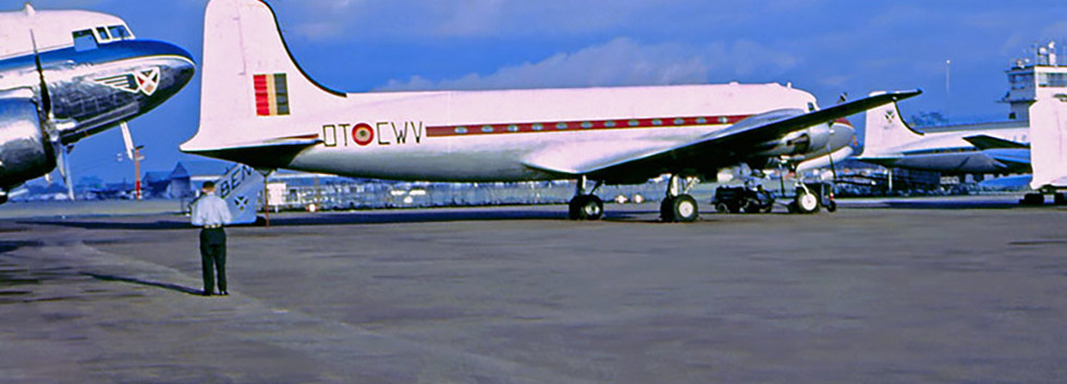 Douglas DC-4 KX-2/OT-CWV at N'Djili Airport  (former-Belgian Congo) in the mid/late-fifties.