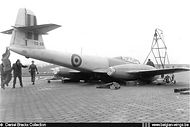 """Gloster Meteor T.7A """"Mulet"""" ED-28 is pictured at Gosselies on 290157 after suffering an undercarriage failure during tests prior to delivery as T.7A."""