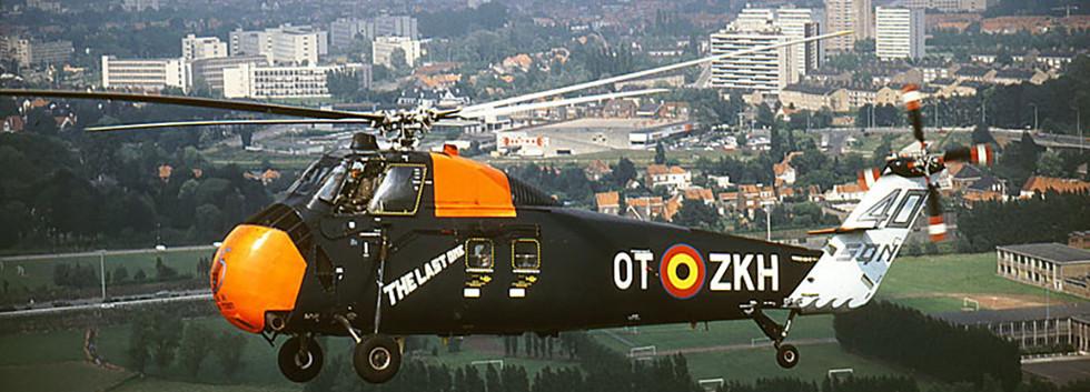 "Sikorsky HSS-1 B-8 on its last ""official"" flight from Deurne-Antwerpen to Koksijde airbase in June 1986."