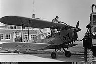 Stampe Vertongen SV-4B V-53 being refuelled at Goetsenhoven airbase in September 1955.