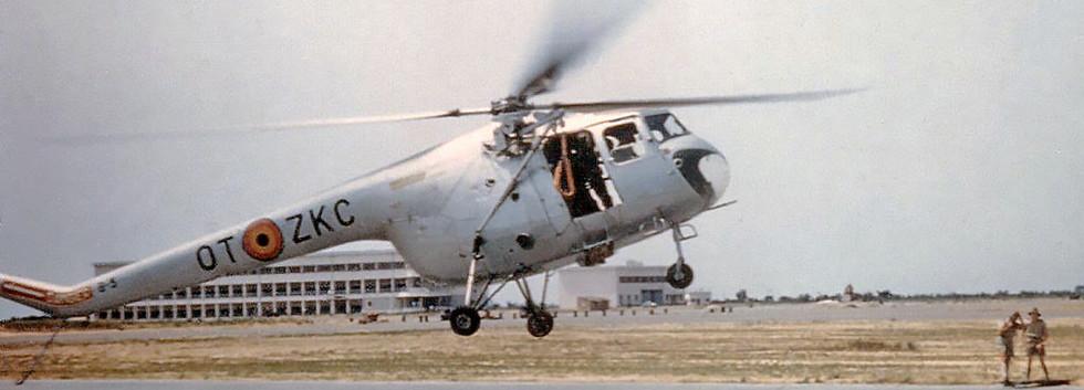 Sycamore B-3/OT-ZKC landing at Kamina airbase.