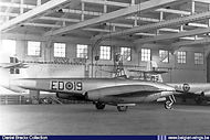 Gloster Meteor T.7 ED-19 seen in a hangar at Brustem airbase in the summer of 1957.