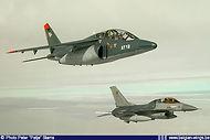 Alpha Jet AT12 in formation with Lockheed Martin F-16BM FB-15.