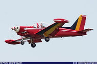"""Siai Marchetti SF260M ST-03 in the new """"Red Devils"""" colour scheme seen landing at Beauvechain airbase on April 21st, 2011."""