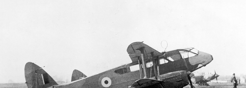 Still camouflaged De Havilland DH.89A Dominie D-7 at Koksijde airfield in the late forties.
