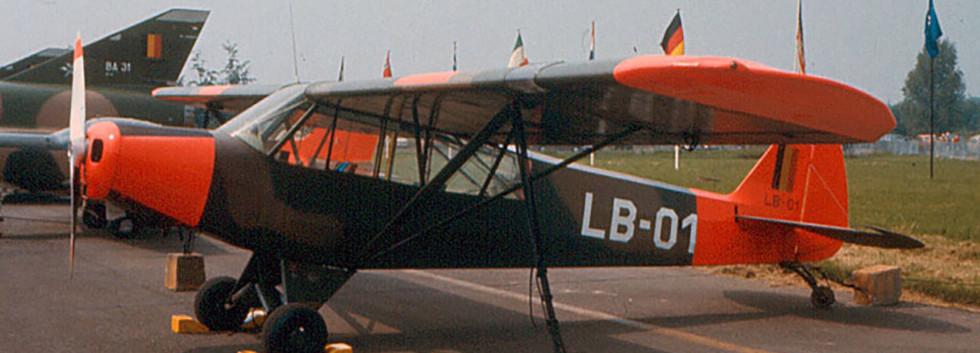 The original first Piper L-21B Super Cub LB-01 seen at the Brustem International Airshow on June 24th 1977.