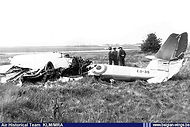 During assymetric landing training (with one engine out) Gloster Meteor T.7 ED-35 stalled at Chièvres airbase and crashed on 19 May 1954.
