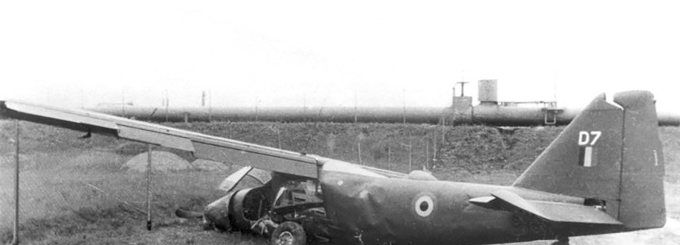 Dornier Do27J D-7 of the Belgian Army's Light Aviation after a crash landing at Köln-Niehl (D.) on 21 May 1962.  The aircraft was written off after this accident and used as instructional airframe at Bützweilerhof.