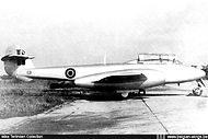 Gloster Meteor T.7 ED-1 at Beauvechain airbase on 27 November 1948, some weeks after its delivery to the Belgian Air Force.