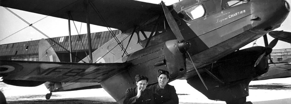 De Havilland DH.89 Dominie NF874 (later to be re-registered D-2) wearing the name of famous Belgian aviator Raymond Chartier.