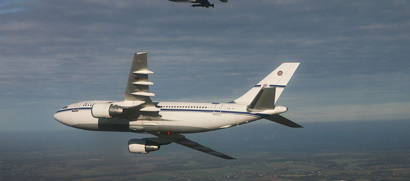 Airbus A310 CA-01 in formation with F-16s near Florennes airbase