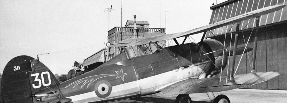 Gloster Gladiator I G-30 of 1/I/2 Aé (Comet) on a visit to the training base Wevelgem in the late thirties.