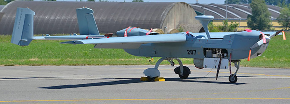 IAI B-Hunter 287 at Florennes airbase on 30 June 2015 during the change of command ceremony of N° 80 UAV Squadron.