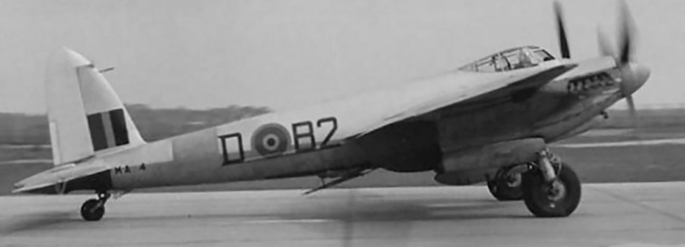 De Havilland DH.98 Mosquito T/TT.3 MA-4/B2-D taxing out at Koksijde airbase. Note the target towing gear beneath the fuselage.