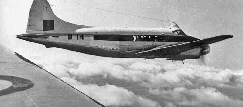 De Havilland DH.104 Dove 1B D14 in flight over former Belgian Congo.