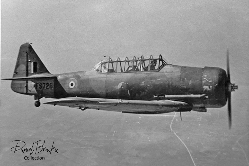North American Harvard IIb FS728 in flight near Brustem airbase.