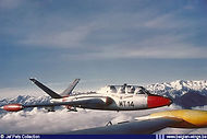 Fouga Magister MT-14 at altitude during a gunnery practice deployment to Solenzara, Corsica (France).