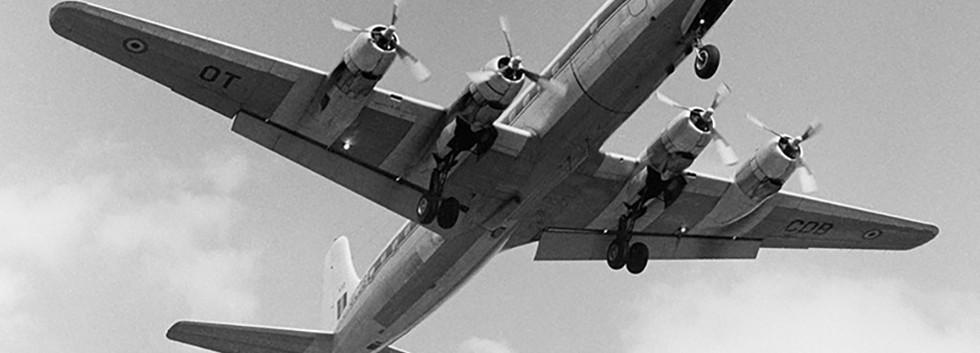 Douglas DC-6A KY-2/OT-CDB landing at Melsbroek airbase on 05 May 1976.