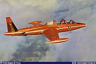 """Potez-Air Fouga CM-170-1 Magister MT-27 of the """"Red Devils"""" aerobatic team in flight in August 1967."""