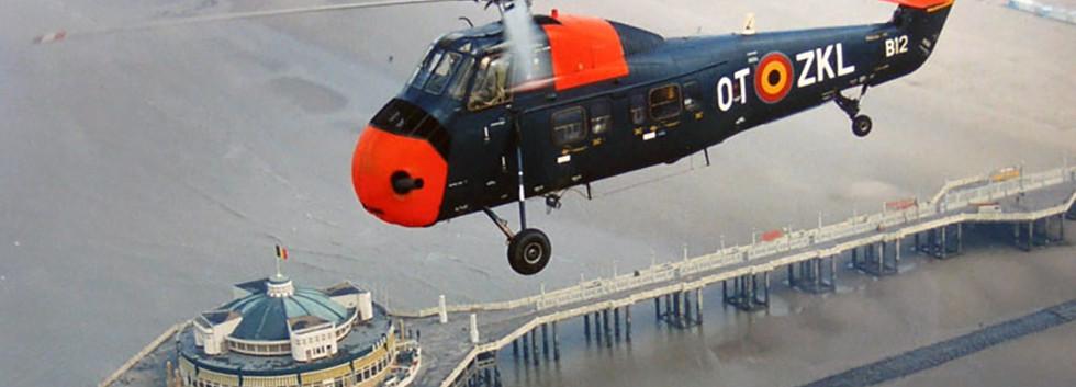Sikorsky S.58 B-12/OT-ZKL in flight over the pier of Blankenberge