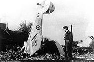 Stampe Vertongen SV-4B V-25 crashed at Marke on 20 July 1951 after hitting some powerlines during a low level flight.