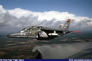 Alpha Jet AT13 carrying a SUU 20A pod in formation flight in March 2004.