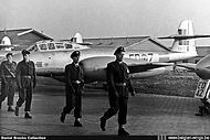 Gloster Meteor T.7A ED-7 seen during the Wings Parade at Brustem airbase on 10 May 1957.