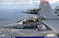 Alpha Jet AT30 and At15 banking over Cazaux airbase in France in March 2004.