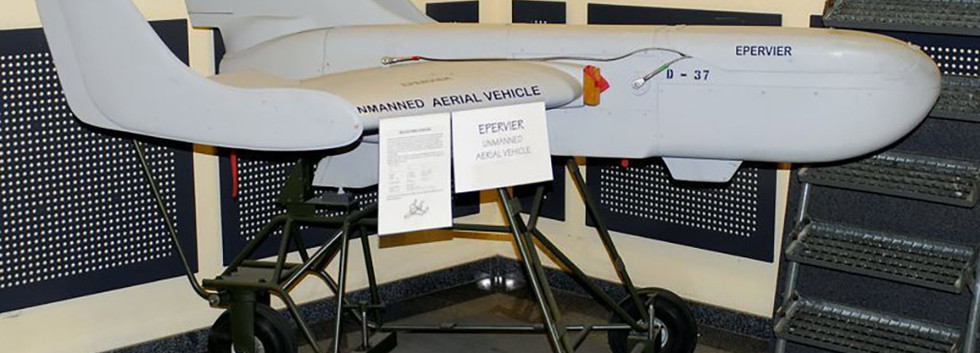 MBLE Epervier UAV D-37 on display at the Royal Military Academy on March 16th 2008.