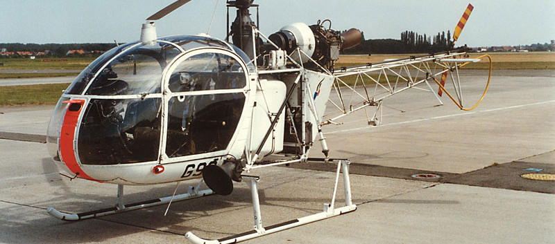 Aerospatiale Alouette II G-93 seen at Melsbroek airbase. Noticed the higher skids.