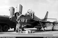 Photo camera's being loaded into Republic RF-84F Thunderflash FR-10/H8-K before a recce mission.
