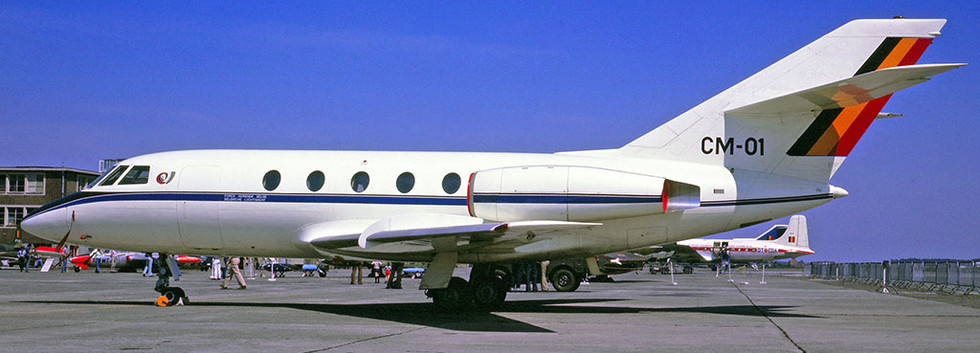 Dassault Falcon/Mystère 20 CM-01 in the static display of  the Melsbroek Airshow on 11 May 1976