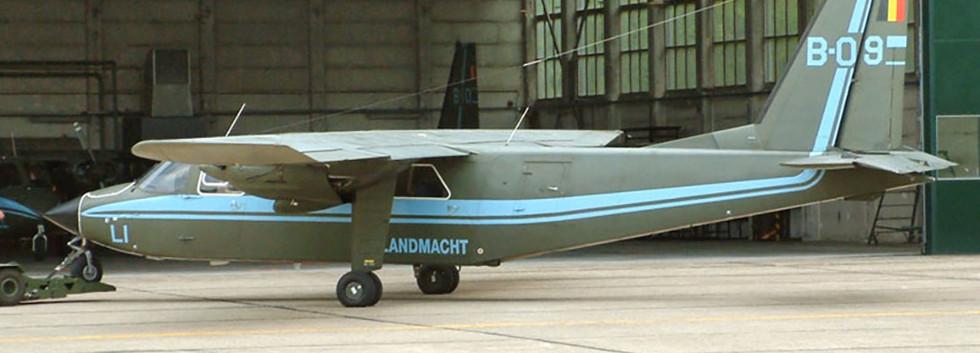 Britten Norman BN2A/B-21 Islander B-09 being pulled out of its hangar at Brasschaat airbase on May 6th, 2004.