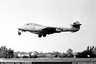Gloster Meteor T.7 ED-14 of the Fighter School landing at Koksijde in the mid-fifties.
