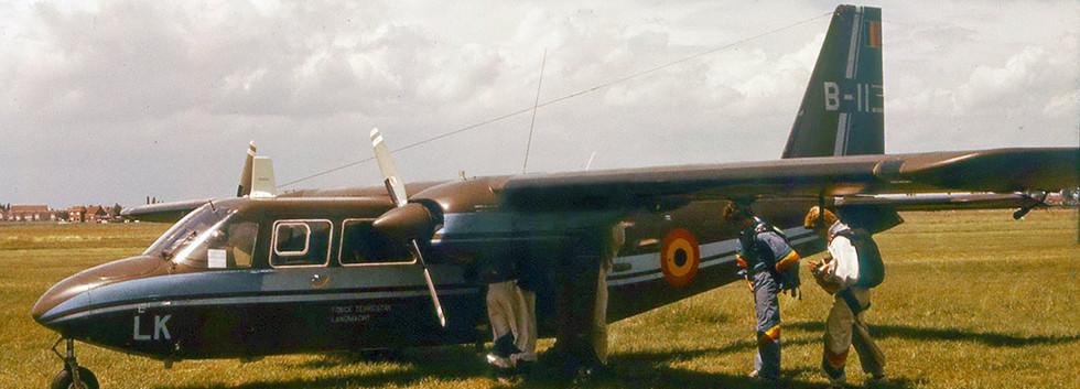 Islander B-11/LK loading parachutists during the Moorsele airshow on 10 june 1980.