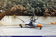 Fouga CM.170 Magister MT-21 armed with rockets and guns is being prepared for a training mission from Brustem airbase.