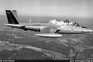 """""""Red Devils"""" Fouga Magister MT-11 in flight."""
