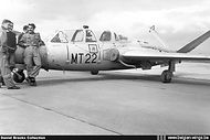 Some pilots pose next to Fouga CM.170 Magister MT-22 in the early sixties.