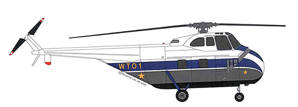 Sikorsky S-55 OO-CWG was operated by Sabena in former Belgian Congo. After been operated for four months by the Openbare Weermacht/Force Publique this helicopter was transferred to the Force Aérienne Congolaise as WT-01 in 1960.