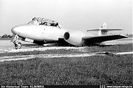 Gloster Meteor T.7 ED-11 of the Fighter School after a landing accident (stalled on approach) at Koksijde airbase on 4 June 1954.