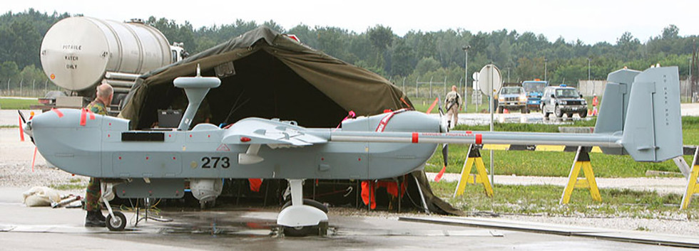 IAI B-Hunter 273 of the 80th UAV Squadron during its deployment to Tuzla airbase, Bosnia-Herzegovina pictured on August 24th, 2005.