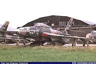 Republic RF-84F Thunderflash FR-18 in storage at the Northern part of Koksijde airbase in 1973, awaiting its final destiny.