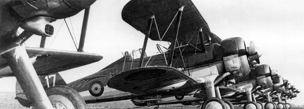 Gloster Gladiator I G-17 1/I/2Aé (Comet) in a line-up probably at Schaffen airfield immediately prior to World War II.