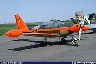 """Siai Marchetti SF260M ST07 of the """"Swallows""""aerobatic team at the Bierset Airshow on 29 May 1982."""
