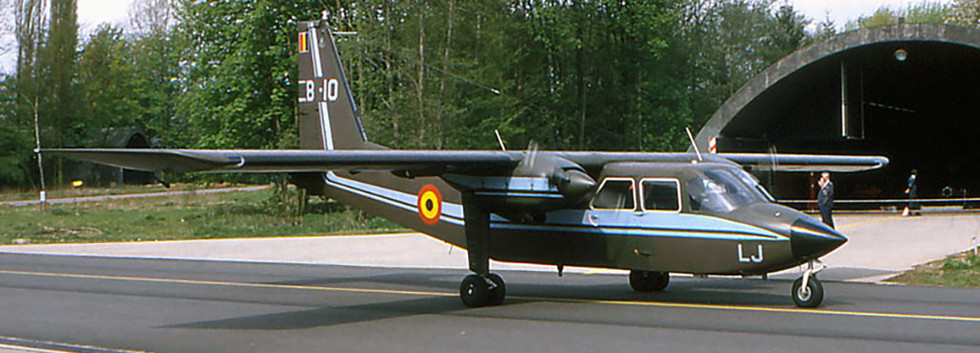 Britten Norman BN2A Islander B-10/OT-ALJ taxiing out at Beauvechain airbase in the nineties.