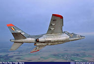 Alpha Jet AT23 banks away near its hombase at Beauvechain (now Cazaux, F) on May 1st, 2004.