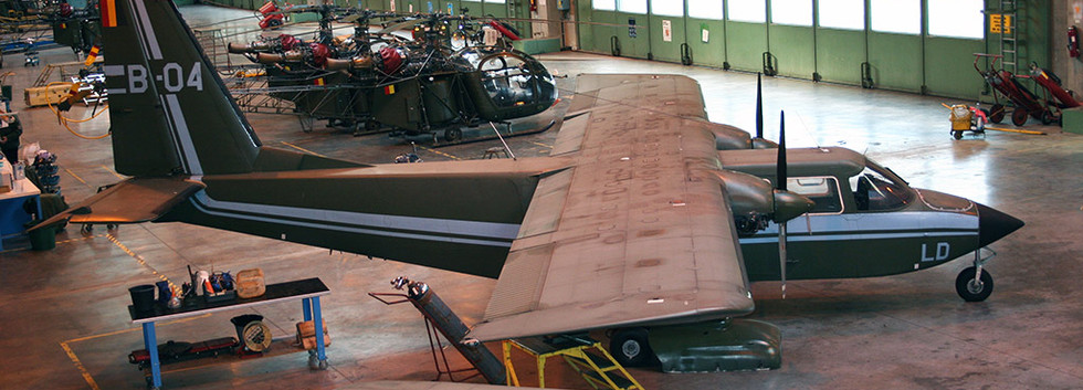 Britten Norman BN2B-21 B-04 in storage at Brasschaat airbase in February 2006 before being sold.