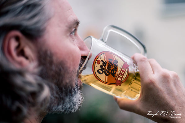 Old Guys Rule - Drinking beer out of a g